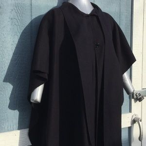 Gorgeous Black fleece poncho cape woman size